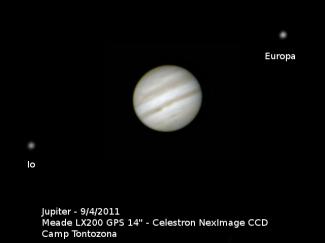 Jupiter & moons Io and Europa, 2011